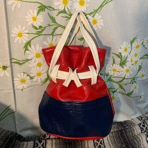Vintage artisan red blue leather bucket bag